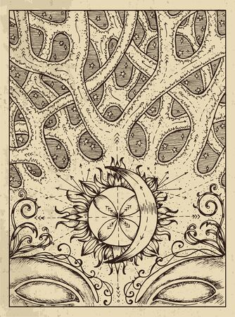 Crossroad. Mystic concept for Lenormand  tarot card. Vector engraved illustration. Fantasy line art drawing and tattoo sketch. Gothic, occult and esoteric background Ilustração