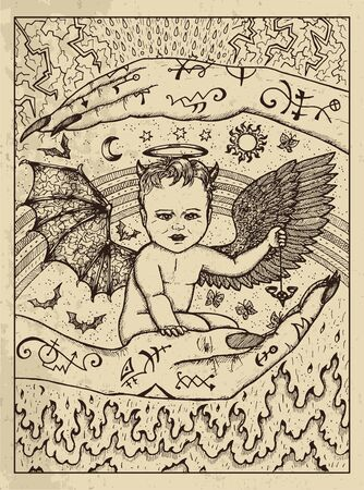 Demon child. Mystic concept for Lenormand  tarot card. Vector engraved illustration. Fantasy line art drawing and tattoo sketch. Gothic, occult and esoteric background