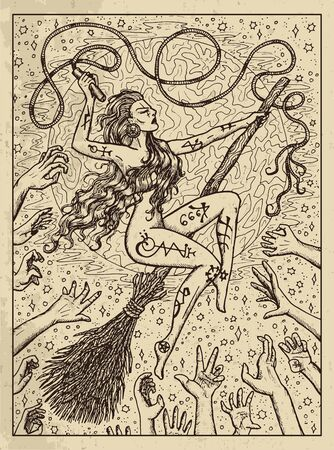 Whip. Mystic concept for Lenormand   tarot card. Vector engraved illustration. Fantasy line art drawing and tattoo sketch. Gothic, occult and esoteric background
