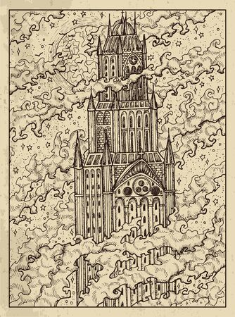 Tower. Mystic concept for Lenormand   tarot card. Vector engraved illustration. Fantasy line art drawing and tattoo sketch. Gothic, occult and esoteric background