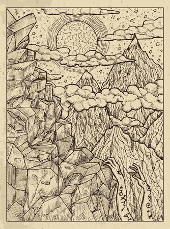 Mountain. Mystic concept for Lenormand  tarot card. Vector engraved illustration. Fantasy line art drawing and tattoo sketch. Gothic, occult and esoteric background