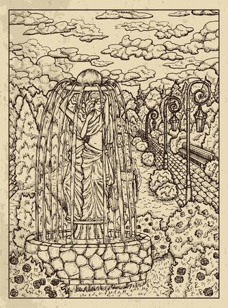 Garden. Mystic concept for Lenormand   tarot card. Vector engraved illustration. Fantasy line art drawing and tattoo sketch. Gothic, occult and esoteric background
