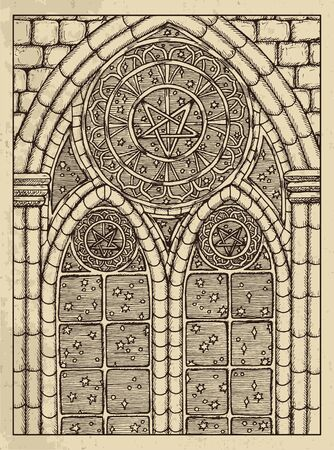 Stars. Mystic concept for Lenormand   tarot card. Vector engraved illustration. Fantasy line art drawing and tattoo sketch. Gothic, occult and esoteric background