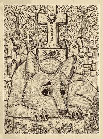 Dog. Mystic concept for Lenormand  tarot card. Vector engraved illustration. Fantasy line art drawing and tattoo sketch. Gothic, occult and esoteric background Ilustração