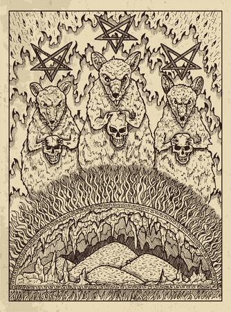 Rats. Mystic concept for Lenormand  tarot card. Vector engraved illustration. Fantasy line art drawing and tattoo sketch. Gothic, occult and esoteric background