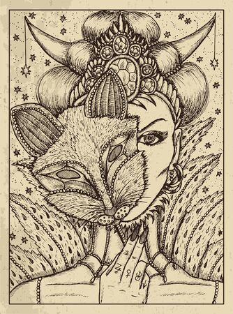 Fox. Mystic concept for Lenormand   tarot card. Vector engraved illustration. Fantasy line art drawing and tattoo sketch. Gothic, occult and esoteric background Illustration