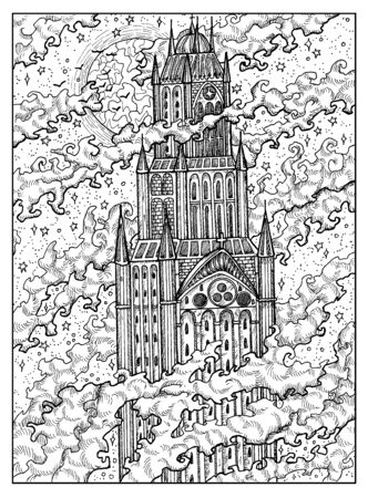 Tower or castle. Black and white mystic concept for Lenormand   tarot card. Graphic engraved illustration. Fantasy line art drawing and tattoo sketch. Gothic, occult and esoteric background