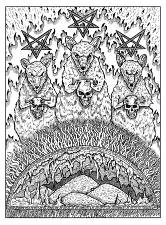 Rats. Black and white mystic concept for Lenormand   tarot card. Graphic engraved illustration. Fantasy line art drawing and tattoo sketch. Gothic, occult and esoteric background 스톡 콘텐츠 - 127178322