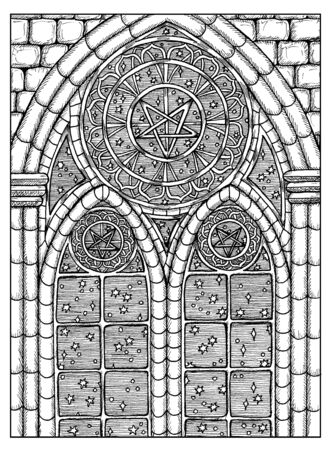 Stars in window. Black and white mystic concept for Lenormand   tarot card. Graphic engraved illustration. Fantasy line art drawing and tattoo sketch. Gothic, occult and esoteric background