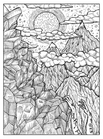 Mountain. Black and white mystic concept for Lenormand   tarot card. Graphic engraved illustration. Fantasy line art drawing and tattoo sketch. Gothic, occult and esoteric background
