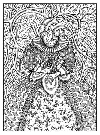 Heart. Black and white mystic concept for Lenormand   tarot card. Graphic engraved illustration. Fantasy line art drawing and tattoo sketch. Gothic, occult and esoteric background