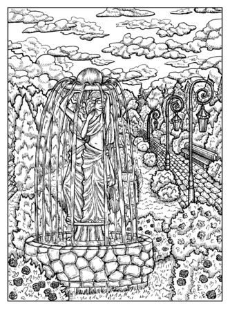Garden. Black and white mystic concept for Lenormand  tarot card. Graphic engraved illustration. Fantasy line art drawing and tattoo sketch. Gothic, occult and esoteric background 스톡 콘텐츠 - 127178324