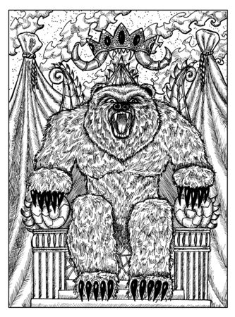 Bear on throne. Black and white mystic concept for Lenormand   tarot card. Graphic engraved illustration. Fantasy line art drawing and tattoo sketch. Gothic, occult and esoteric background