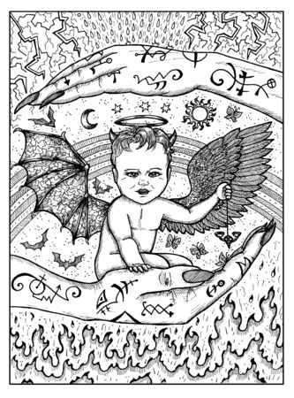 Demon child. Black and white mystic concept for Lenormand   tarot card. Graphic engraved illustration. Fantasy line art drawing and tattoo sketch. Gothic, occult and esoteric background
