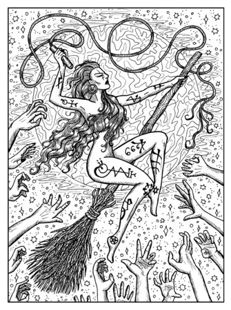Witch on broomstick. Black and white mystic concept for Lenormand   tarot card. Graphic engraved illustration. Fantasy line art drawing and tattoo sketch. Gothic, occult and esoteric background