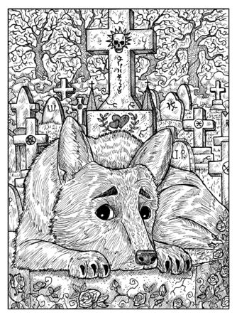 Dog on grave. Black and white mystic concept for Lenormand   tarot card. Graphic engraved illustration. Fantasy line art drawing and tattoo sketch. Gothic, occult and esoteric background