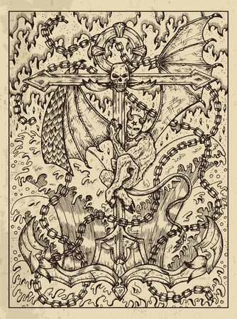Anchor. Mystic concept for Lenormand oracle tarot card. Vector engraved illustration. Fantasy line art drawing and tattoo sketch. Gothic, occult and esoteric background Vektoros illusztráció