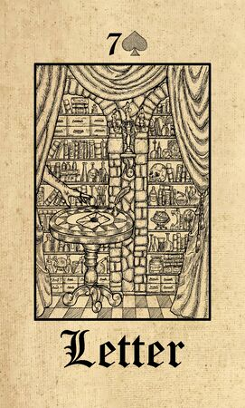 Letter. Tarot card from Lenormand Gothic Mysteries oracle deck. Graphic engraved illustration. Fantasy and mystic line art drawing. Gothic, occult and esoteric background