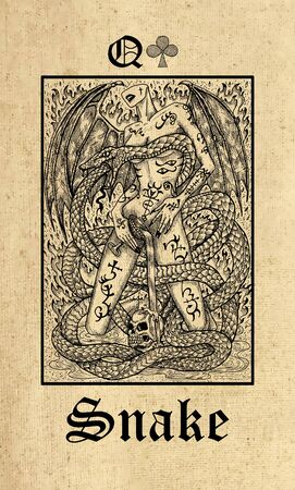 Snake. Tarot card from Lenormand Gothic Mysteries oracle deck. Graphic engraved illustration. Fantasy and mystic line art drawing. Gothic, occult and esoteric background