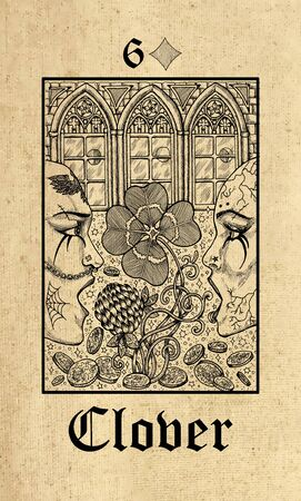 Clover. Tarot card from Lenormand Gothic Mysteries oracle deck. Graphic engraved illustration. Fantasy and mystic line art drawing. Gothic, occult and esoteric background