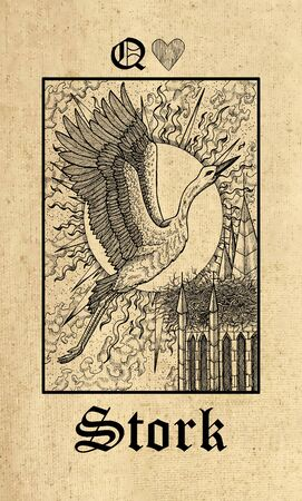 Stork. Tarot card from Lenormand Gothic Mysteries oracle deck. Graphic engraved illustration. Fantasy and mystic line art drawing. Gothic, occult and esoteric background
