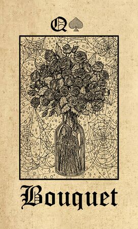 Bouquet. Tarot card from Lenormand Gothic Mysteries oracle deck. Graphic engraved illustration. Fantasy and mystic line art drawing. Gothic, occult and esoteric background Stock Photo