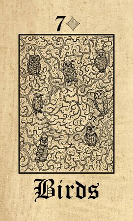 Birds. Tarot card from Lenormand Gothic Mysteries oracle deck. Graphic engraved illustration. Fantasy and mystic line art drawing. Gothic, occult and esoteric background