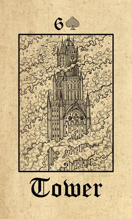 Tower. Tarot card from Lenormand Gothic Mysteries oracle deck. Graphic engraved illustration. Fantasy and mystic line art drawing. Gothic, occult and esoteric background