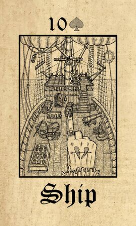 Ship. Tarot card from Lenormand Gothic Mysteries oracle deck. Graphic engraved illustration. Fantasy and mystic line art drawing. Gothic, occult and esoteric background