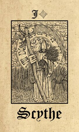 Scythe. Tarot card from Lenormand Gothic Mysteries oracle deck. Graphic engraved illustration. Fantasy and mystic line art drawing. Gothic, occult and esoteric background