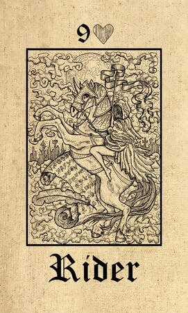 Rider. Tarot card from Lenormand Gothic Mysteries oracle deck. Graphic engraved illustration. Fantasy and mystic line art drawing. Gothic, occult and esoteric background Stock Photo