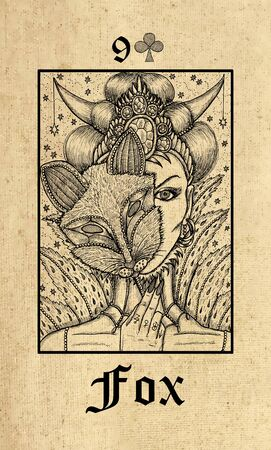 Fox. Tarot card from Lenormand Gothic Mysteries oracle deck. Graphic engraved illustration. Fantasy and mystic line art drawing. Gothic, occult and esoteric background Stock Photo