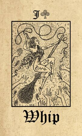 Whip. Tarot card from Lenormand Gothic Mysteries oracle deck. Graphic engraved illustration. Fantasy and mystic line art drawing. Gothic, occult and esoteric background