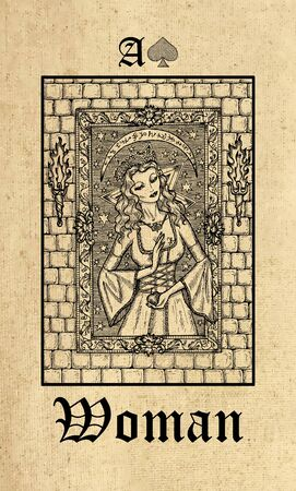 Woman. Tarot card from Lenormand Gothic Mysteries oracle deck. Graphic engraved illustration. Fantasy and mystic line art drawing. Gothic, occult and esoteric background