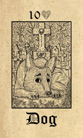 Dog. Tarot card from Lenormand Gothic Mysteries oracle deck. Graphic engraved illustration. Fantasy and mystic line art drawing. Gothic, occult and esoteric background Stock Photo