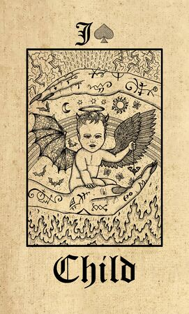Child. Tarot card from Lenormand Gothic Mysteries oracle deck. Graphic engraved illustration. Fantasy and mystic line art drawing. Gothic, occult and esoteric background
