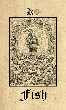 Fish. Tarot card from Lenormand Gothic Mysteries oracle deck. Graphic engraved illustration. Fantasy and mystic line art drawing. Gothic, occult and esoteric background