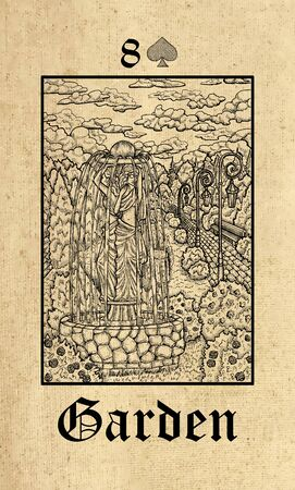Garden. Tarot card from Lenormand Gothic Mysteries oracle deck. Graphic engraved illustration. Fantasy and mystic line art drawing. Gothic, occult and esoteric background