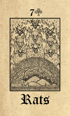 Rats. Tarot card from Lenormand Gothic Mysteries oracle deck. Graphic engraved illustration. Fantasy and mystic line art drawing. Gothic, occult and esoteric background