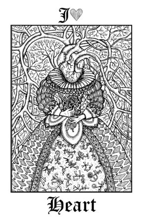 Heart. Tarot card from vector Lenormand Gothic Mysteries oracle deck. Black and white engraved illustration. Fantasy and mystic line art drawing. Gothic, occult and esoteric background
