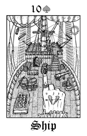 Ship. Tarot card from vector Lenormand Gothic Mysteries oracle deck. Black and white engraved illustration. Fantasy and mystic line art drawing. Gothic, occult and esoteric background