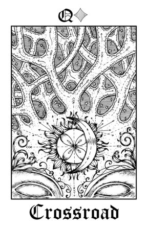 Crossbone. Tarot card from vector Lenormand Gothic Mysteries oracle deck. Black and white engraved illustration. Fantasy and mystic line art drawing. Gothic, occult and esoteric background