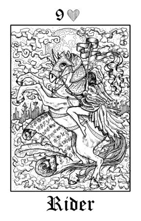 Rider. Tarot card from vector Lenormand Gothic Mysteries oracle deck. Black and white engraved illustration. Fantasy and mystic line art drawing. Gothic, occult and esoteric background Illustration