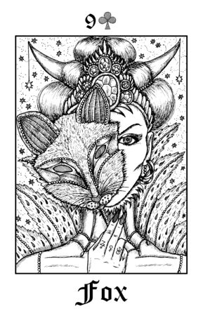 Fox. Tarot card from vector Lenormand Gothic Mysteries oracle deck. Black and white engraved illustration. Fantasy and mystic line art drawing. Gothic, occult and esoteric background