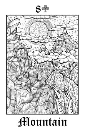 Mountain. Tarot card from vector Lenormand Gothic Mysteries oracle deck. Black and white engraved illustration. Fantasy and mystic line art drawing. Gothic, occult and esoteric background