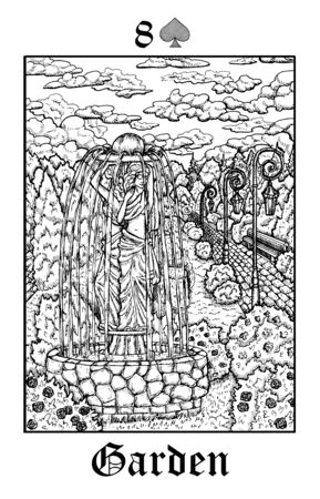 Garden. Tarot card from vector Lenormand Gothic Mysteries oracle deck. Black and white engraved illustration. Fantasy and mystic line art drawing. Gothic, occult and esoteric background 写真素材 - 129306305