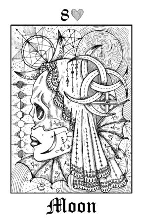 Moon symbol. Tarot card from vector Lenormand Gothic Mysteries oracle deck. Black and white engraved illustration. Fantasy and mystic line art drawing. Gothic, occult and esoteric background