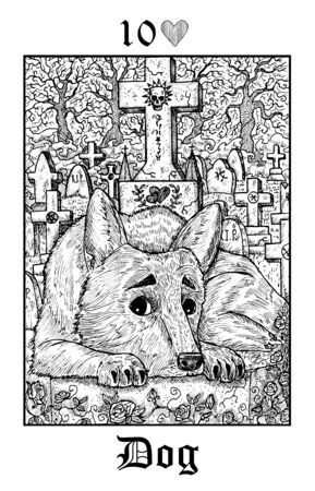 Dog. Tarot card from vector Lenormand Gothic Mysteries oracle deck. Black and white engraved illustration. Fantasy and mystic line art drawing. Gothic, occult and esoteric background