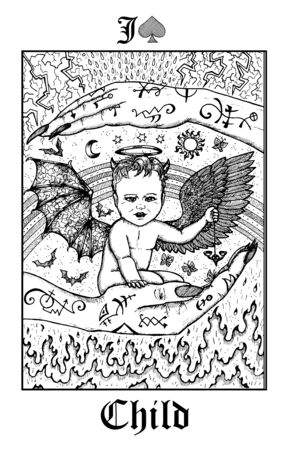Child. Tarot card from vector Lenormand Gothic Mysteries oracle deck. Black and white engraved illustration. Fantasy and mystic line art drawing. Gothic, occult and esoteric background