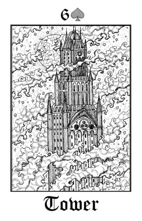 Tower. Tarot card from vector Lenormand Gothic Mysteries oracle deck. Black and white engraved illustration. Fantasy and mystic line art drawing. Gothic, occult and esoteric background